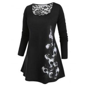Plus Size Halloween Lace Insert Skull Print Tee