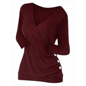 Plus Size Buttons Surplice Knitwear