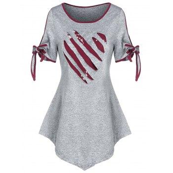 Valentine Heart Pattern Bowknot Ripped Marled T-shirt