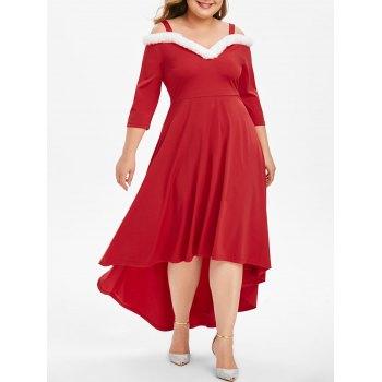 Christmas Faux Fur Panel Open Shoulder High Low Plus Size Dress