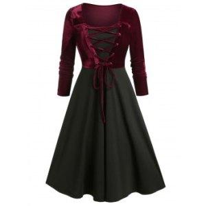 Plus Size Velvet Lace-up Bicolor Long Sleeve Retro Dress