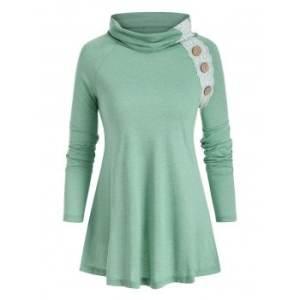 Lace Panel Mock Button Raglan Sleeve T-shirt