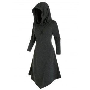 Hooded Pointed Hem Lace-up Heathered Midi Dress