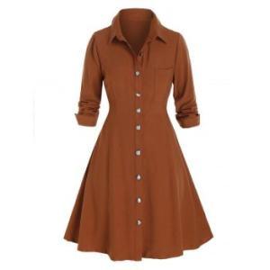 Plus Size Button Up Chest Pocket Shirt Dress