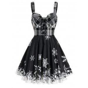 Christmas Lace Up Plaid Snowflake Print Dress