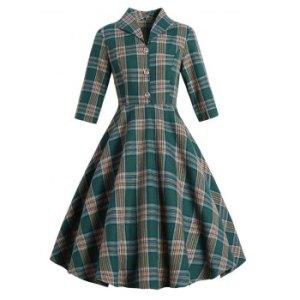 Vintage Plaid Mock Button Dress