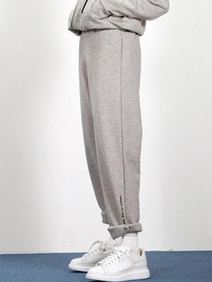 GREY semi wide lounge pants(EB003)-0001
