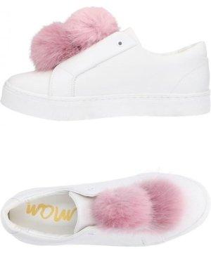 Sam Edelman White Leather Pom Sneakers