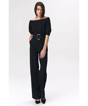 Nife Black jumpsuit with belt