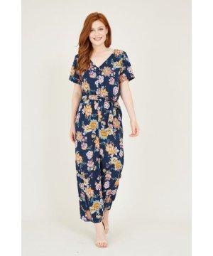 Yumi Black Ethnic Floral Print Jumpsuit