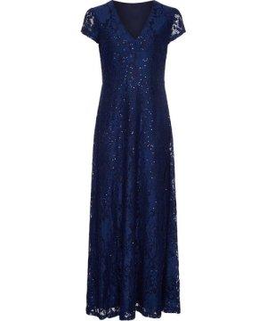 Mela London Curve Sequin Detailed V Neck Lace Maxi Dress