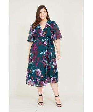 Yumi Curves Curve Green Rose Print Wrap Midi Dress