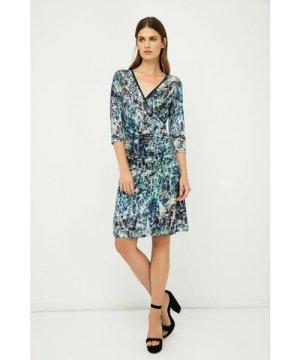 Conquista Print Jersey Faux Wrap Dress in Blue
