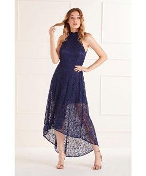 Mela London Navy High Neck Low Lace Maxi Dress