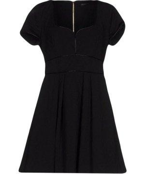 Mangano Black Faux Leather Short Sleeve Dress