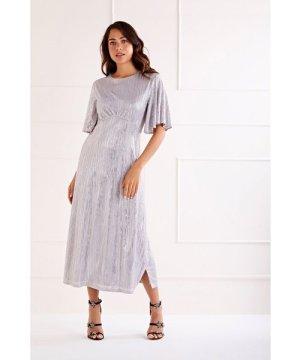 Mela London Foil Detailed Ruffle Sleeve Midi Dress