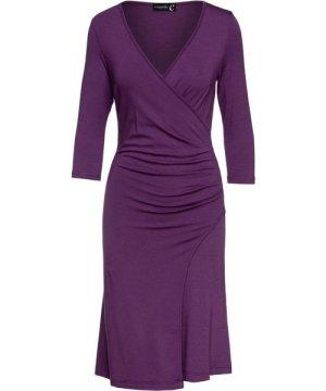 Conquista Aubergine Faux Wrap Dress