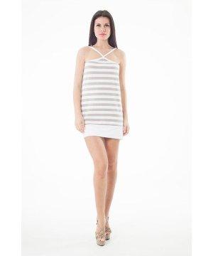 Conquista Strappy Striped Mini Dress in Khaki