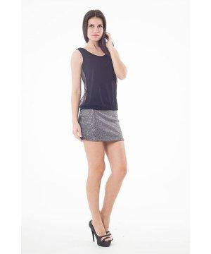 Conquista Lurex Mini Skirt in Black