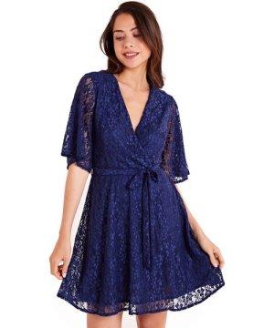 Iska Floral Lace Wrap Front Skater Dress