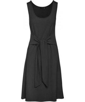 Conquista Black A Line Dress with Tie Waist