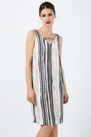 Conquista Sleeveless Striped V Neck Dress