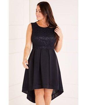 Mela London Curve Sequin Lace Top High Low Dress