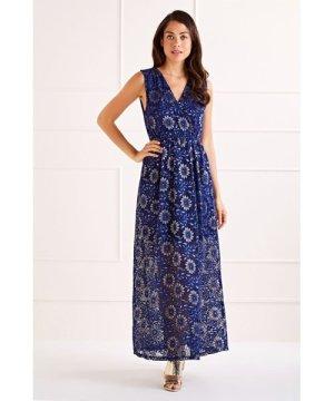 Mela London Navy Flower Lace Wrap Front Maxi Dress