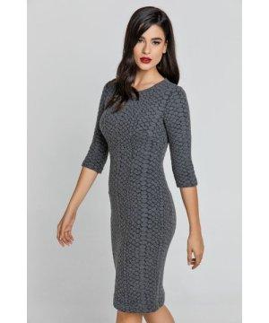 Conquista Dark Grey Jacquard Dress By