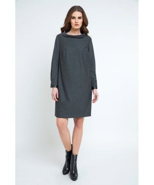 Conquista Casual H-line Stand Collar Long Sleeve Midi Dress