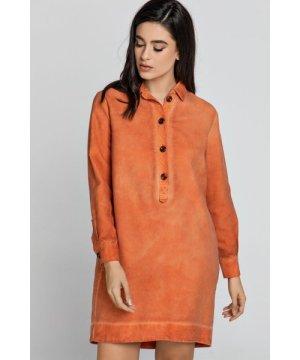 Conquista Tencel Orange Shirt Dress