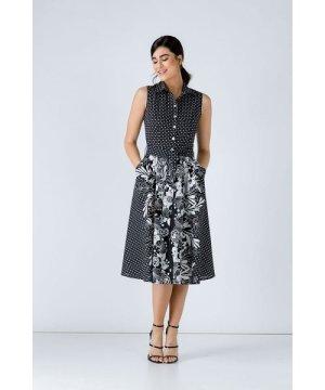 Conquista Button Detail Black Print Dress