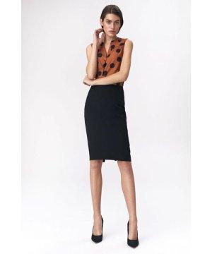 Nife Pencil skirt with decorative zipper - black