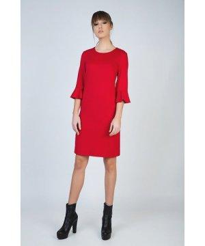 Conquista Sleeve Detail Red Dress in Stretch Punto di Roma Fabric