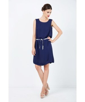 Conquista Solid Colour Straight Dress with Belt