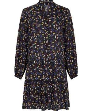 Yumi Curves Black Plus Size Ditsy Floral Tunic Dress