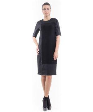 Conquista Contrast Fabric Shift Dress black