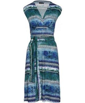 Conquista Multi-Coloured Empire Line Sleeveless Dress in Petrol Color