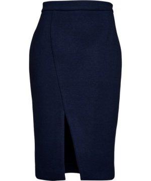 Conquista Navy Blue Mouflon Pencil Skirt