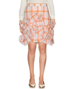Msgm MSGM Orange Check Ruched Skirt