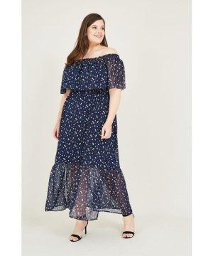 Yumi Curves Daisy Print Bardot Frill Maxi Dress