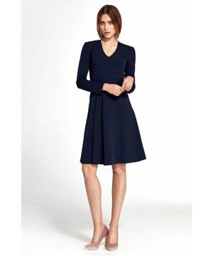 Nife Dress with vertical furbelow - navy blue