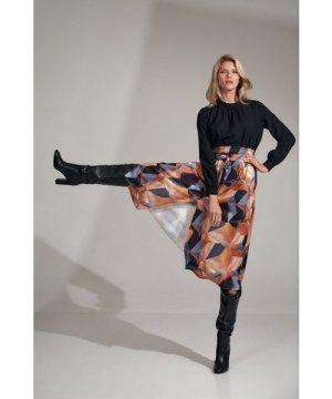 Figl Long flared geometric pattern skirt