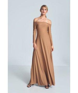 Figl Beige Sensual Maxi Dress With Cold Shoulders
