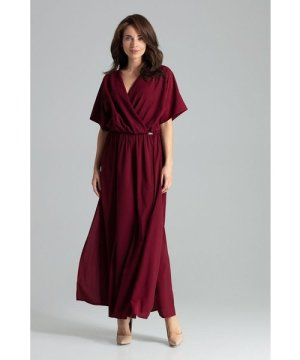 Lenitif Deep Red maxi dress with short sleeves