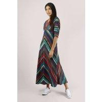 Blue Chevron Kimono Sleeve Maxi Dress