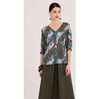 Khaki Kimono Blouse With Cuff Sleeve