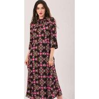 Fuchsia High Neck Front Slit Midi Dress