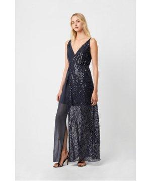 Aurora Sequin Embellished V Neck Dress - stellar blue