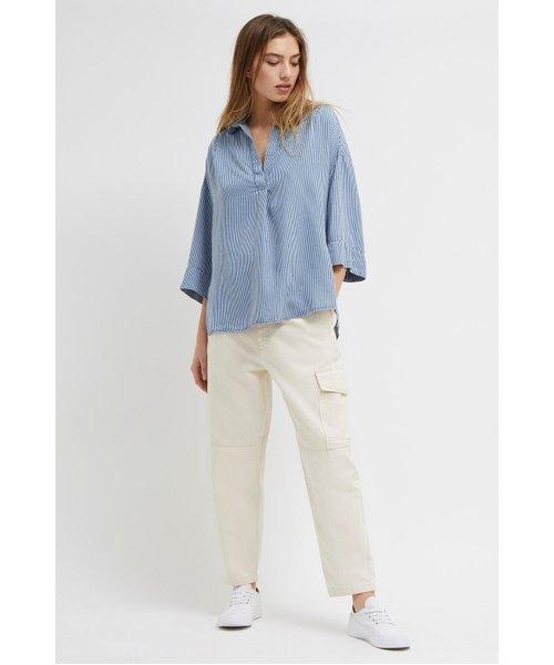Julienne Stripe Pop Over Shirt - light indigo